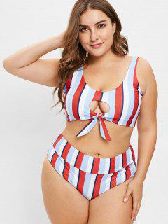 ZAFUL Striped Scrunch Butt Plus Size Bikini Set - Multi-a 2xl