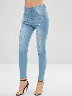 Beading Faux Pearls Light Wash Jeans - Denim Blue M