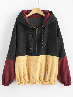 Front Pocket Contrast Corduroy Hoodie - Multi-a M