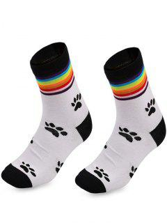 Rainbow Striped Pattern Ankle Socks - White
