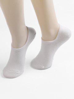 Non-slip Cotton No Show Socks - White