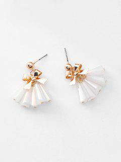 Faux Crystal Bowknot Tassel Earrings - White