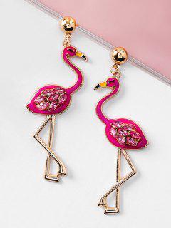 Rhinestone Flamingo Shape Drop Earrings - Deep Pink