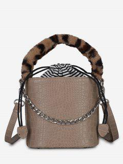 Mini Leopard Pattern Bucket Tote Bag - Light Khaki