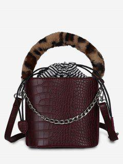 Mini Leopard Pattern Bucket Tote Bag - Red Wine