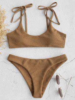 Bikini Côtelé Aux épaules Et Aux Liens ZAFUL - Marron Camel M