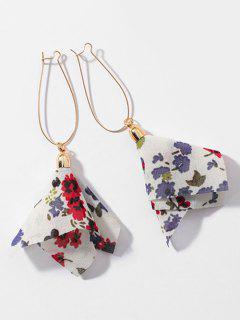 Layered Chiffon Floral Tassel Hook Earrings - Blanc