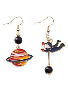 Cartoon Space Astronaut Beads Hook Earrings - Midnight Blue