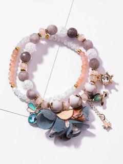 Rhinestone Inlaid Floral Star Decoration Bracelet - White