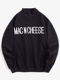 Embroidered Letter Pullover Fleece Sweatshirt - Black M