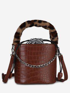 Mini Leopard Pattern Bucket Tote Bag - Brown