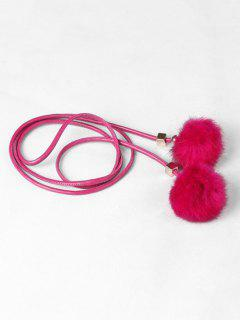 Fuzzy Balls Decorative Faux Leather Belt - Rose Red