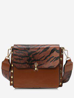 Color Block Rivet Cover Design Crossbody Bag - Brown