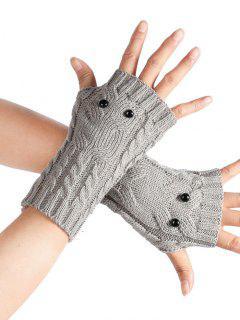Cartoon Owl Fingerless Gloves - Light Gray