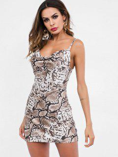 Snakeskin Print Mini Cami Dress - Multi L