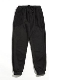 Drawstring Mesh Spliced Jogger Pants - Black M