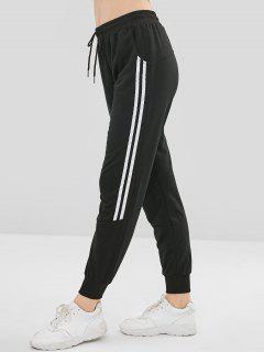 Drawstring Contrast Trim Jogger Pants - Black S
