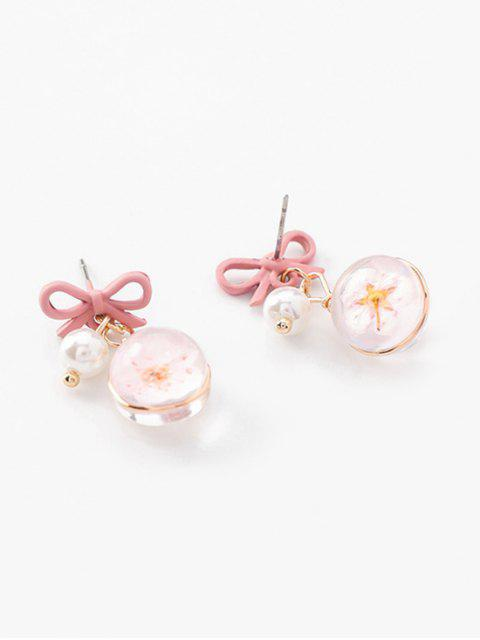 latest Cherry Blossom Pattern Artificial Pearl Earrings - PINK  Mobile