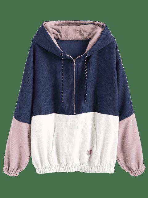 trendy Front Pocket Contrast Corduroy Hoodie - MULTI-B M Mobile