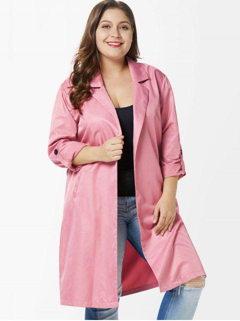 Seitenschlitz Plus Size Knielanger Mantel - Flamingo Rosa 1X Mobile