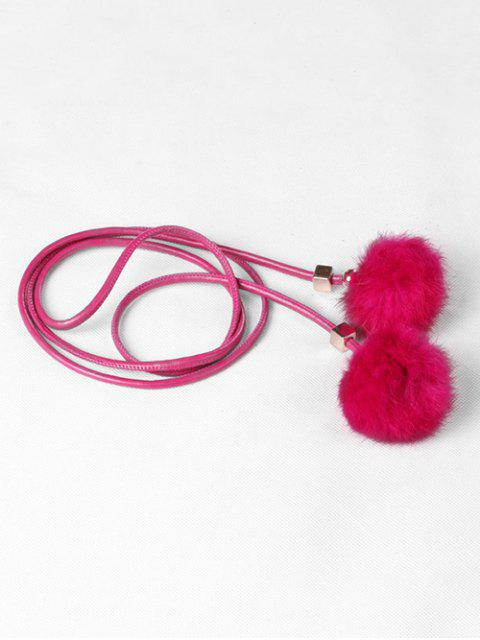 sale Fuzzy Balls Decorative Faux Leather Belt - ROSE RED  Mobile