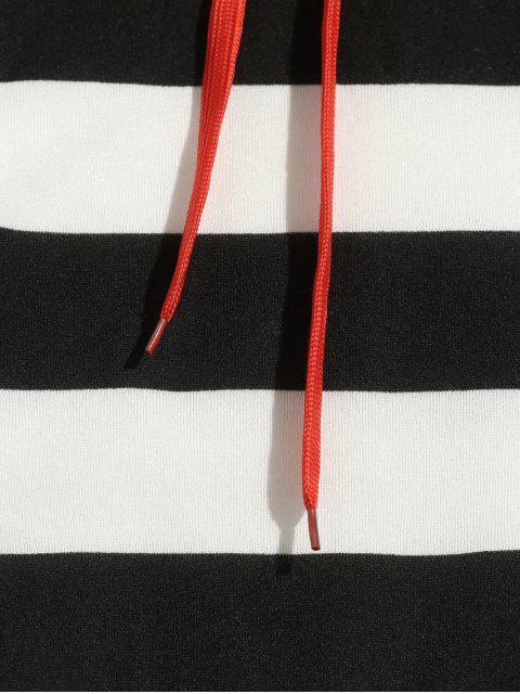 sale Contrast Striped Print Fleece Hoodie - BLACK L Mobile