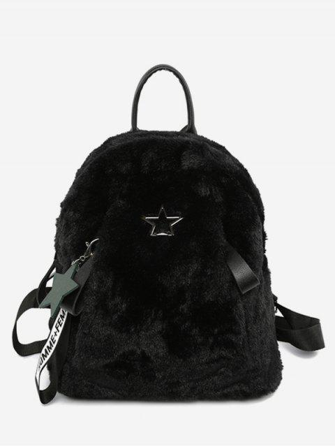 affordable Star Printed Fluffy School Backpack - BLACK  Mobile