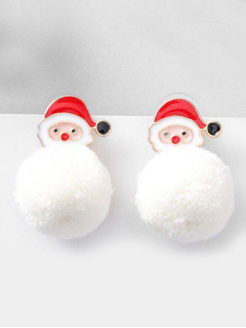 chic Christmas Santa and Fluffy Ball Decoration Earrings - RED  Mobile