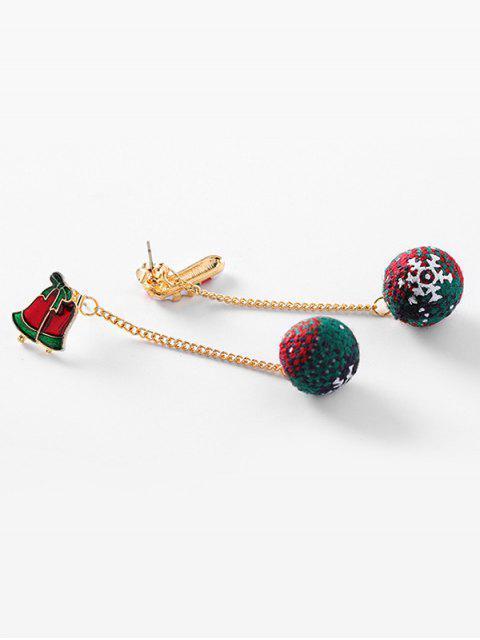 Boucles d'Oreilles Asymétriques de Noël Boule Fourrée et Flocon de Neige - Rouge  Mobile