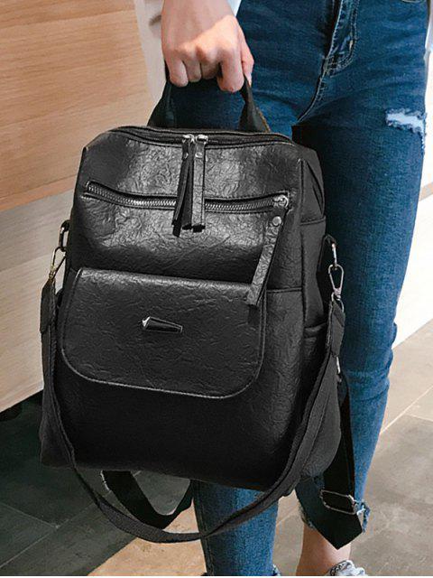 women Solid Color Design PU School Backpack - BLACK  Mobile