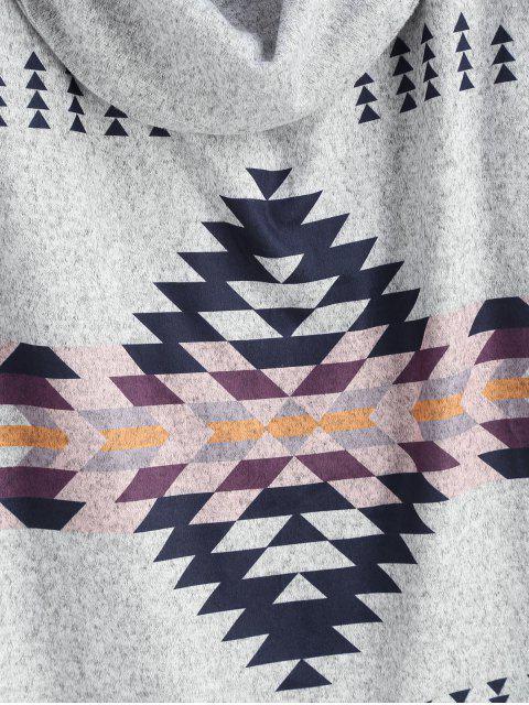 hot Cowl Neck Geometric Print Sweater - LIGHT GRAY XL Mobile