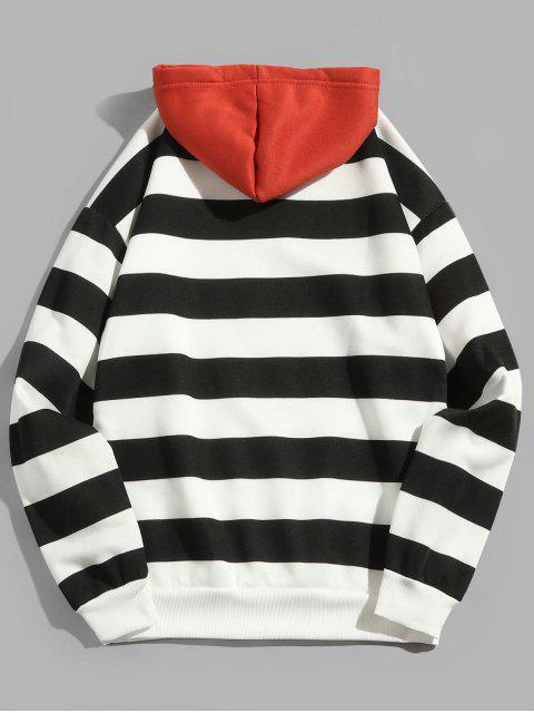 womens Contrast Striped Print Fleece Hoodie - BLACK XL Mobile