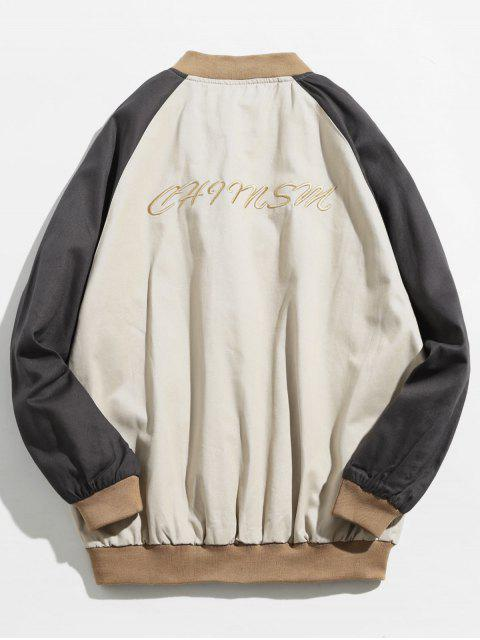 outfits Colorblock Embroidered Letter Baseball Jacket - LIGHT KHAKI L Mobile