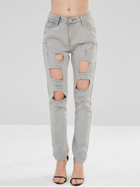 Fade destroyed jeans - Gris Claro M Mobile