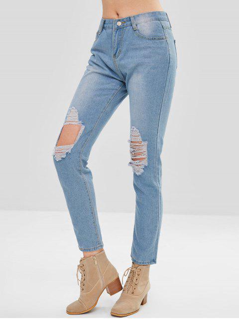 Jeans rectos destruidos - Azul de Jeans  L Mobile