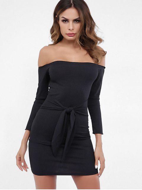 Vestido de punto liso con nudo fuera del hombro - Negro L Mobile