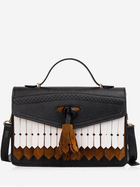 ladies Large Capacity Tassel Design Handbag - BLACK  Mobile