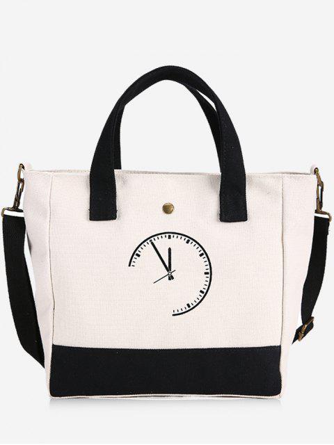 best Clock Pattern Canvas Handbag - BLACK  Mobile