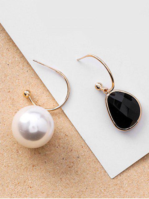 online Asymmetric Artificial Pearl Hook Earrings - BLACK  Mobile