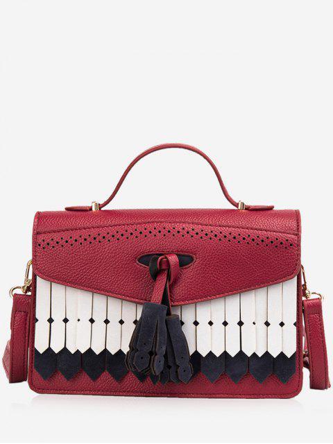 hot Large Capacity Tassel Design Handbag - RED WINE  Mobile