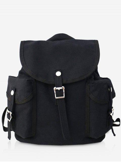 fancy Canvas Design Large Capacity School Backpack - BLACK  Mobile