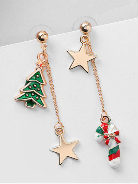 women's Asymmetric Christmas Tree and Star Earrings - RED  Mobile