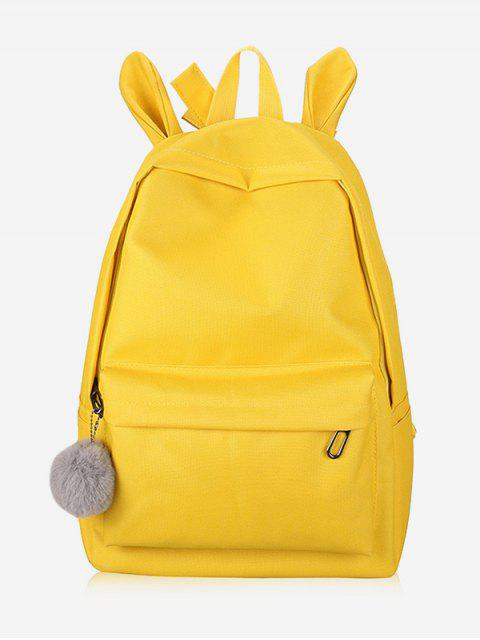 latest Plush Ball Canvas Design School Backpack - YELLOW  Mobile