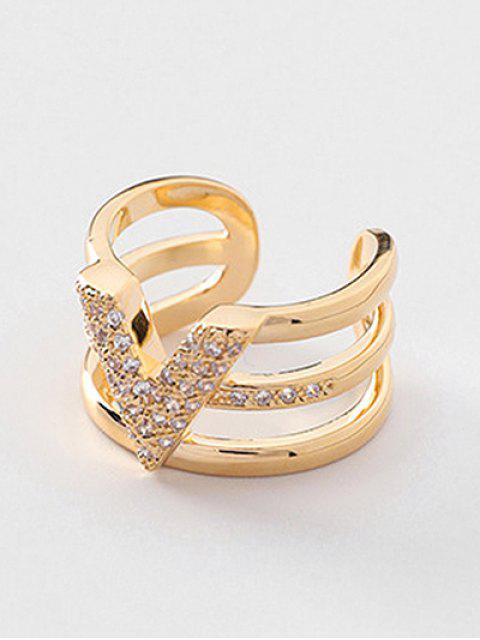women Layered Minimalist Faux Crystal Inlaid Ring - GOLD  Mobile