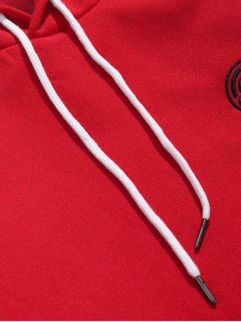 Sweat à Capuche Rayé Brodé avec Poche Kangourou - Rouge Lave 2XL Mobile