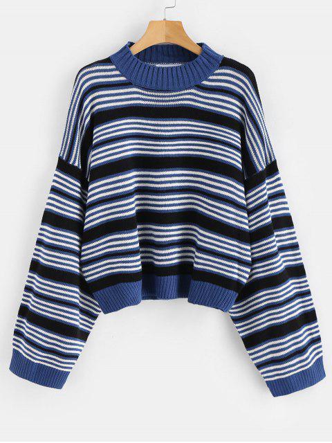 fashion Drop Shoulder Oversized Stripes Sweater - MULTI ONE SIZE Mobile