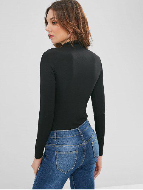 latest High Collar Long Sleeve Tee - BLACK ONE SIZE Mobile