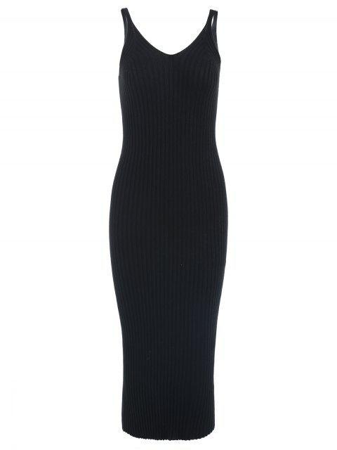 Robe Pull Mi-Longue à Bretelle Fine à Col V - Noir Taille Unique Mobile