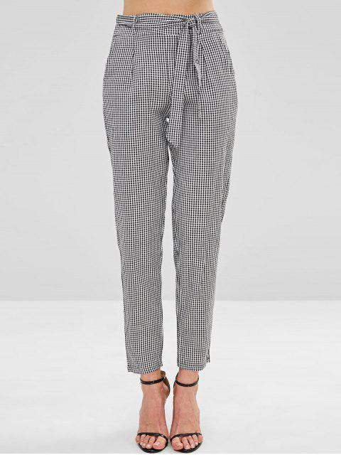 Pantalones cónicos con cinturón de guinga - Multicolor S Mobile
