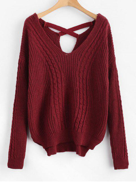 best V Neck Cable Knit Cross Back Sweater - RED WINE ONE SIZE Mobile
